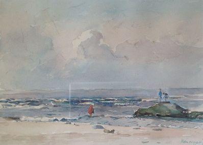 Schilderijen te koop van kunstschilder A.C. van Noort strandgezicht olie op doek, gesigneerd, Expositie Galerie Wijdemeren Breukeleveen