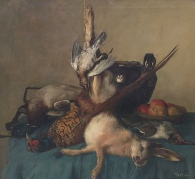 Kunstenaar D. Nun 4659, D. Nun, jachtstilleven olieverf op doek, 84 x 76 cm verkocht