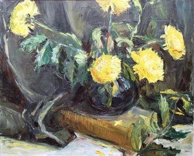 Kunstenaar Lambalgen 4704, Lambalgen 'Stilleven met gele chrysanten' Olieverf op doek,50 x 60 cm