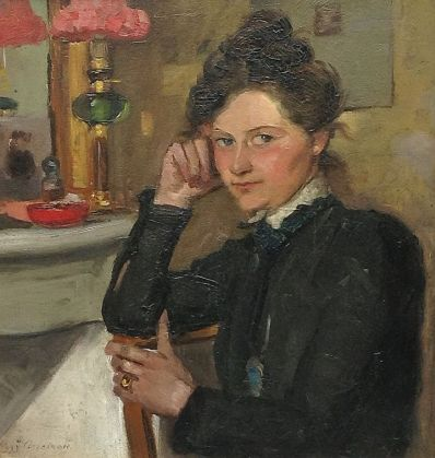 Kunstenaar Lizzy Ansingh 5294 Lizzy Ansingh Zelfportret bij spiegel Olie op paneel, 29 x 27.5 cm verkocht