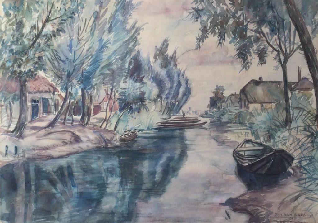 schilderijen te koop van kunstschilder, Jan A.M. van Anrooy Veenendaal aquarel op papier, beeldmat 34.5 x 48.5 cm rechtsonder handgesigneerd, gedateerd 1934, expositie, galerie wijdemeren breukeleveen