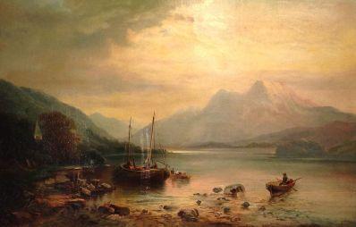 Kunstenaar Errington 5333, Errington 'Meer met boten' Olie op doek Beeldmaat: 60 cm x 90 cm