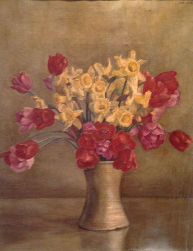 Kunstenaar Huszar 5406, Vilmos Huszár bloemstilleven, olie op doek verkocht