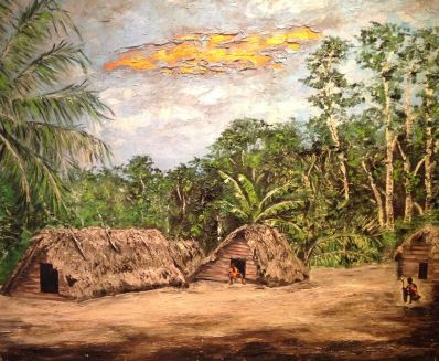 Schilderijen te koop van kunstschilder Vervuurt Suriname olie op paneel, Expositie Galerie Wijdemeren Breukeleveen