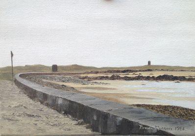 Kunstenaar Munson 5541-3, Munson Muur aan het water Olie op doek, beeldmaat: 18 x 26 cm r.o. gesigneerd