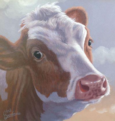 Kunstenaar Chris Overbeeke 5646-1, Chris Overbeeke, Koe, olie op doek, 40 x 40 cm, gesigneerd l.o.