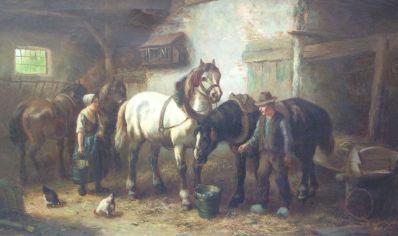 Schilderijen te koop, kunstschilder Cor Bouter Paardenstal, Expositie Galerie Wijdemeren Breukeleveen