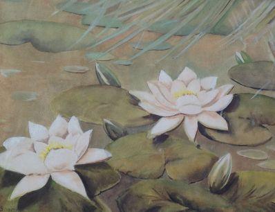 Schilderijen te koop, kunstschilder Waterlelies pastel op papier, 35 x 45 cm herkomst Simonis & Buunk, expositie Galerie Wijdemeren Breukeleveen