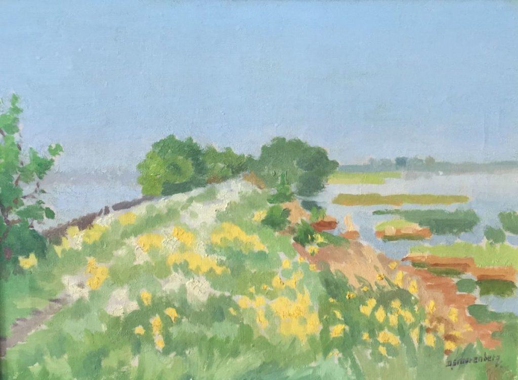 Schilderijen te koop, kunstschilder Dirk Smorenberg Lambrechtskade olie op doek, 31,5 x 42 cm rechtsonder gesigneerd, expositie Galerie Wijdemeren Breukeleveen