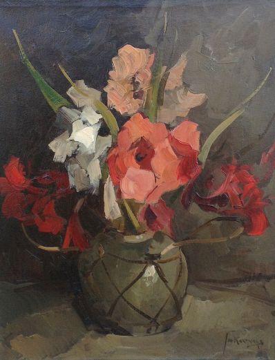 Schilderijen te koop, kunstschilder Jan Korthals bloemstilleven olie op doek, gesigneerd, expositie Galerie Wijdemeren Breukeleveen