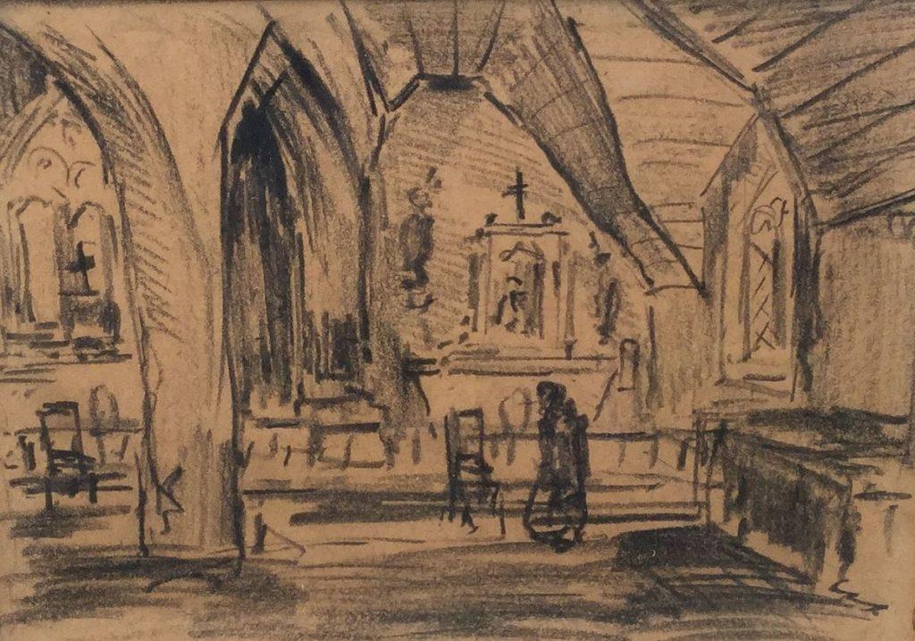 Schilderijen te koop van kunstschilder JBarend van Voorden Chapelle de Trémalo, Pont Aven houtskooltekening, beeldmaat 11.5 x 16 cm verso titel, tevens verso gesigneerd en gedateerd 1956, Expositie Galerie Wijdemeren Breukeleveen