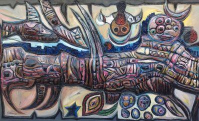 Kunstenaar Ali Ghaddaf 5747, Ali Ghaddaf gesigneerd Ghaddaf '91 particuliere collectie