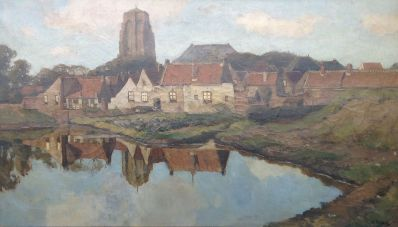 Kunstenaar Nicolaas Bastert 5748 Nicolaas Bastert Zicht op Zierikzee olie op doek, gesigneerd verkocht