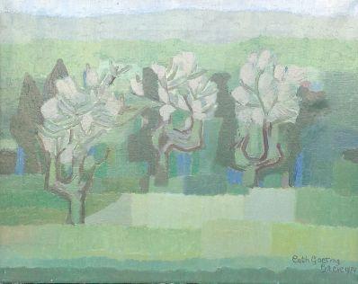 Kunstenaar Catharina Goeting-Stultiëns 5754, Catherina Goeting landschap met bomen r.o. gesigneerd