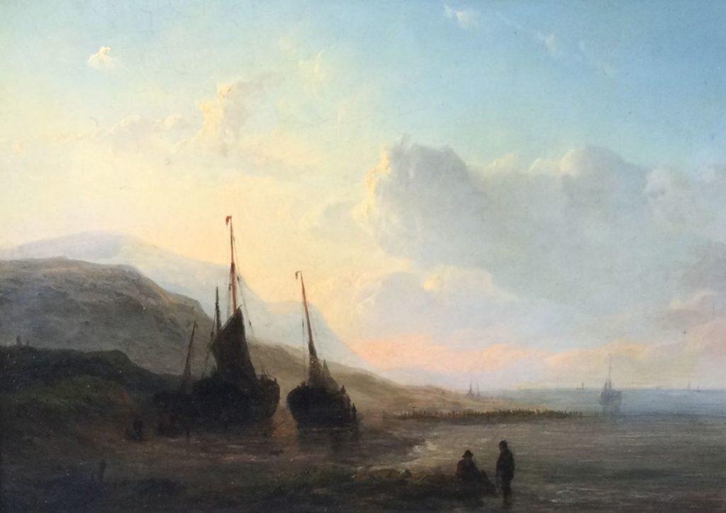 Kunst te koop bij Galerie Wijdemeren, Romantische school, 19e eeuw Italianiserend kustlandschap met schepen olie op paneel, 22 x 31.5 cm