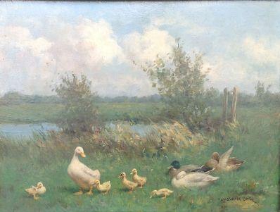 Schilderijen te koop van kunstschilder Constant Artz Eendenfamilie aan de waterkant, Expositie Galerie Wijdemeren Breukeleveen