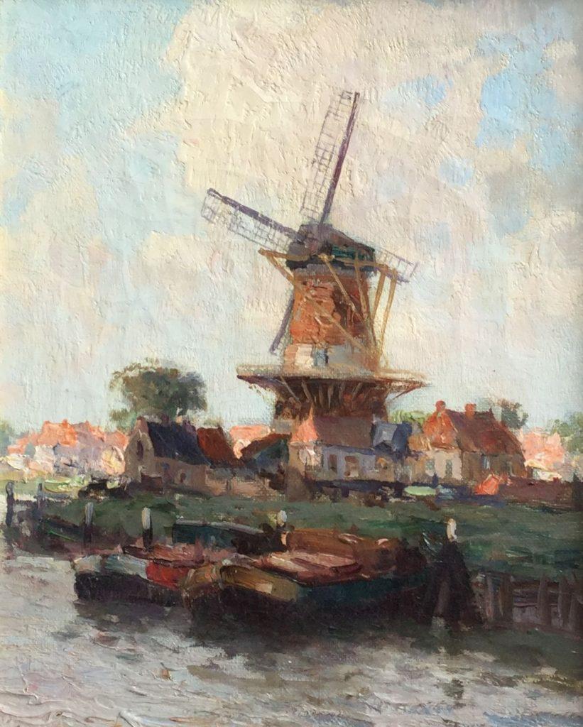Schilderijen te koop, kunstschilder G.J. Delfgaauw gezicht op dorp met molen olie op board 30 x 24 cm gesigneerd, expositie Galerie Wijdemeren Breukeleveen