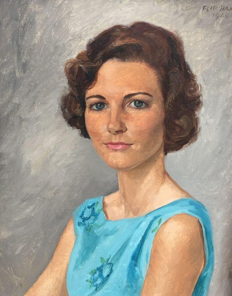 Schilderijen te koop van kunstschilder Flip Hamers portret jonge dame, vintage olie op doek, 50 x 40 cm rechtsboven gesigneerd en gedateerd 1965, Expositie Galerie Wijdemeren Breukeleveen