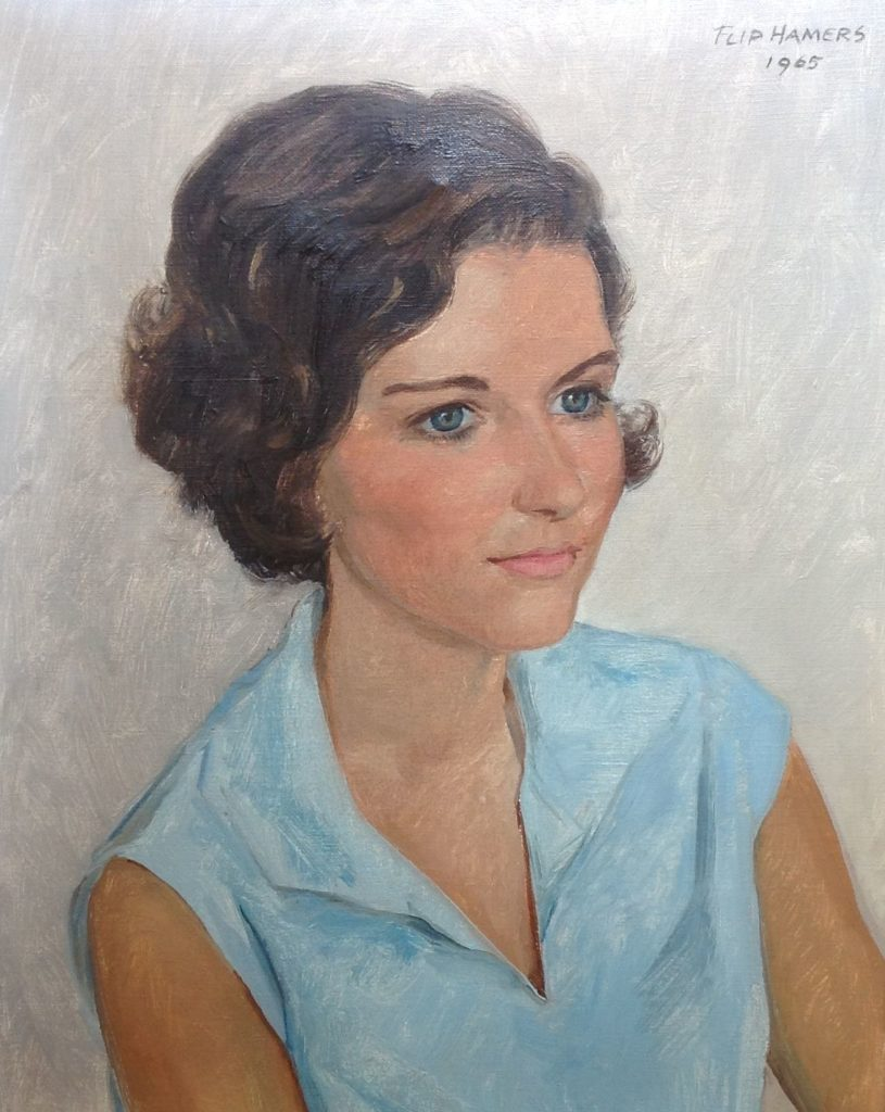 Kunst te koop bij Galerie Wijdemeren, Flip Hamers Portret jongedame olie op doek, 40 x 50 cm rechtsonder gesigneerd