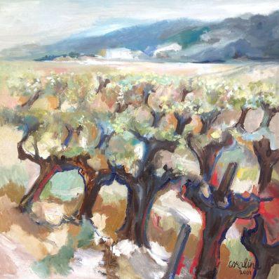 Schilderijen te koop van kunstschilder Caroline Backer Olijvenboomgaard, Frankrijk Olie op doek, doekmaat 100 x 100 cm rechtsonder gesigneerd en gedateerd 2001, Expositie Galerie Wijdemeren Breukeleveen