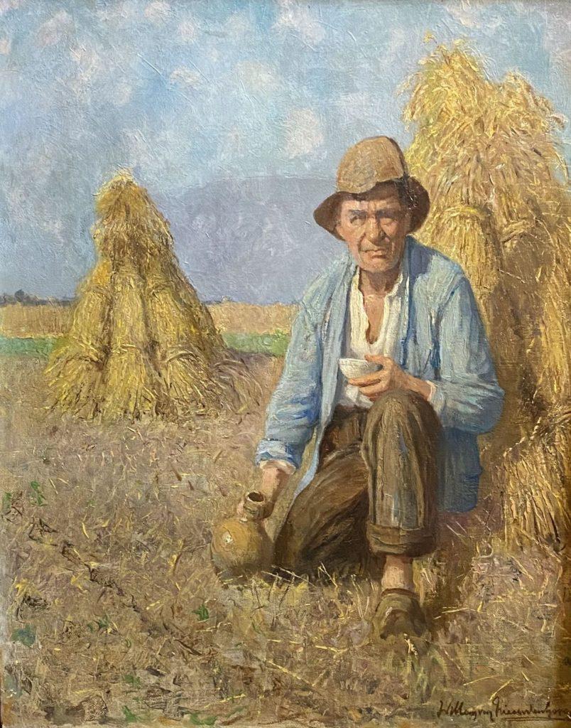 Kunst te koop bij Galerie Wijdemeren van kunstschilder Willem van Nieuwenhoven Boer bij korenschoven olie op doek, 38 x 50 cm rechtsonder gesigneerd