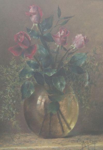 Schilderijen te koop, kunstschilder, Cyriacus Bleys Stilleven met rozen in glazen vaas pastel op papier, 45 x 34,5 cm rechtsonder gesigneerd, expositie Galerie Wijdemeren Breukeleveen