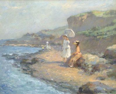 schilderijen te koop van kunstschilder, Vladimir Poretskov dames aan de kust olie op doek, doekmaat 40 x 50 cm rechtsonder gesigneerd, expositie, galerie wijdemeren breukeleveen