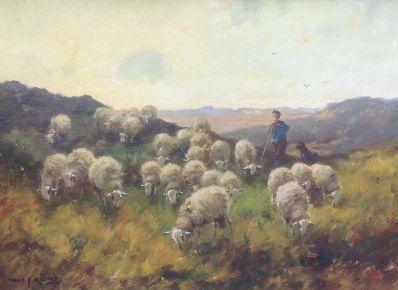 Schilderijen te koop van kunstschilder MJ Nefkens Schaapsherder met kudde op de heide Olie op doek, gesigneerd, Expositie Galerie Wijdemeren Breukeleveen