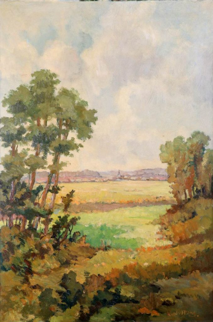 Kunst te koop bij Galerie Wijdemeren van kunstschilder Kurt van de Burg Zicht vanuit bos op dorpje met kerk marouflé, 80 x 53 cm