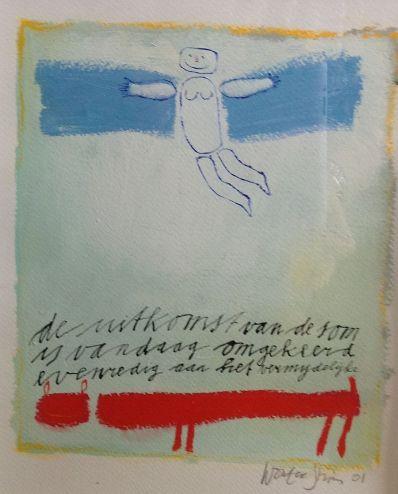 Schilderijen te koop van kunstschilder Wouter Stips De uitkomst van de zon olie en inkt op papier , beeldmaat 23 x 20 cm rechtsonder gesigneerd en gedateerd 01, Expositie Galerie Wijdemeren Breukeleveen