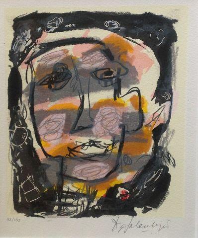 Schilderijen te koop van kunstschilder Cees Salentijn Portret zeefdruk, beeldmaat; 22x18 oplage 22/160 rechtsonder handgesigneerd, Expositie Galerie Wijdemeren Breukeleveen
