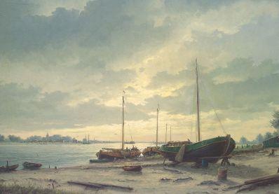 Schilderijen te koop van kunstschilder 6301 HJ Wijngaard riviergezicht olie op doek, gesigneerd, Expositie Galerie Wijdemeren Breukeleveen