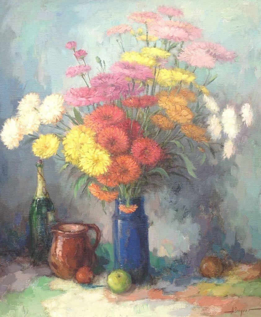 Kunstenaar Harry Zeegers 6303 Harry Zeegers Bloemstilleven olie op doek, 70 x 60 cm gereserveerd