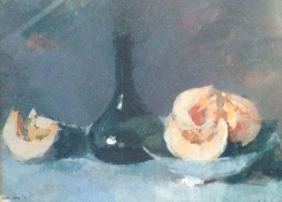 Schilderijen te koop van kunstschilder Kees Hak Stilleven gouache, 37 x 49.5 cm. l.o. gesigneerd en gedateerd '70, Expositie Galerie Wijdemeren Breukeleveen