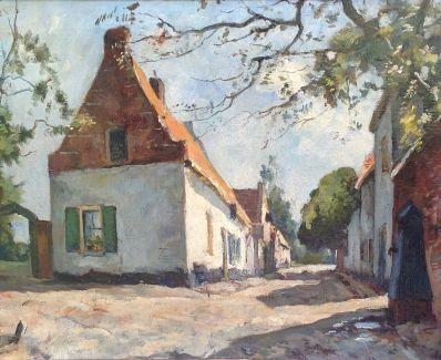 Schilderijen te koop, Jan van Vuuren, 6442, straatje te Elburg olie op doek, 40 x 50 cm, Kunst, Expositie, Galerie Wijdemeren Breukeleveen