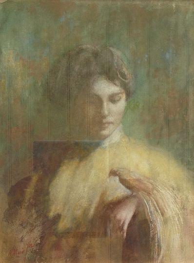 Kunstenaar Willem Maris 6549, Willem Maris Dame met vogel Aquarel, 35 x 26 cm l.o. gesigneerd verkocht
