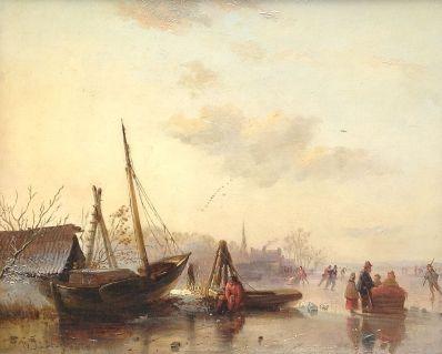 Kunstenaar Wijnandus Johannes Josephus Nuyen 6557, W.J.J. Nuyen olie op paneel, 30,5 x 38 cm