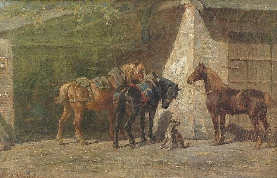 6563 W.C. Nakken Paarden bij de stal Olie op paneel, 22 x 35 cm l.o. gesigneerd, schilderijen te koop, kunst te koop, galerie wijdemeren breukeleveen