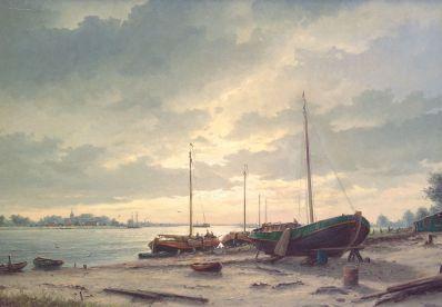 Schilderijen te koop van kunstschilder HJ Wijngaard riviergezicht olie op doek, gesigneerd, Expositie Galerie Wijdemeren Breukeleveen