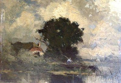 Kunstenaar Arend Jan van Driesten 6658 A.J. van Driesten Boerderij aan de waterkant olie op paneel, ca. 9 x 12 cm verkocht