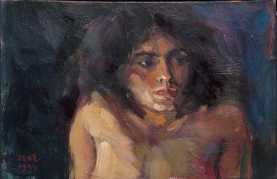 Kunstenaar Ben Snijders 6955, Ben Snijders Claire 1999 0lie op paneel, 12 x 19 cm