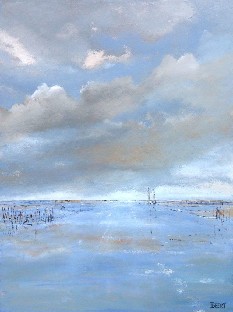 Schilderijen te koop van kunstschilder Beert Hennephof Lonely boats at the mudflats olie op doek, 80 x 60 cm., Expositie Galerie Wijdemeren Breukeleveen