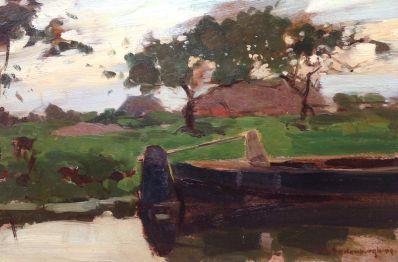 Schilderijen te koop van kunstschilder Cornelis Vreedenburgh Praam langs de vaart met boerderij olie op paneel, 21 x 32 cm Rechtsonder gesigneerd en gedateerd 04, Expositie Galerie Wijdemeren Breukeleveen