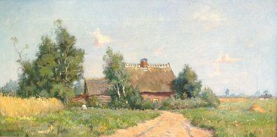 Schilderijen te koop van kunstschilder W.A. Knip Zomer in Laren olie op doek, gesigneerd, Expositie Galerie Wijdemeren Breukeleveen