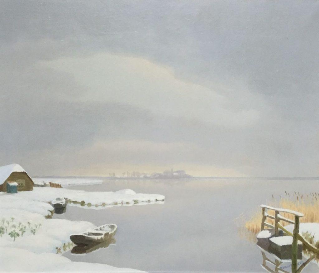 Schilderijen te koop van kunstschilder Dirk Smorenberg Winter aan de plas Olie op doek, doekmaat 60 x 70 cm rechtsonder gesigneerd, Expositie Galerie Wijdemeren Breukeleveen