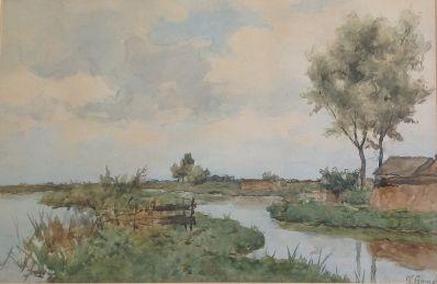 Schilderijen te koop, Kunstschilder Victor Bauffe, 7092, aquarel, polderlandschap, Kunst, Expositie, Galerie Wijdemeren Breukeleveen