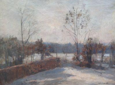 Kunstenaar Anton Rudolf Mauve Jr. 7113, Anton Mauve jr. Winters landschap olieverf op doek r.o. gesigneerd