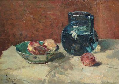 Kunstenaar Louis Stutterheim 7117 Louis Stutterheim Stilleven met vruchten en waterkan olie op doek, doekmaat 35.5 x 51 cm linksonder gesigneerd.