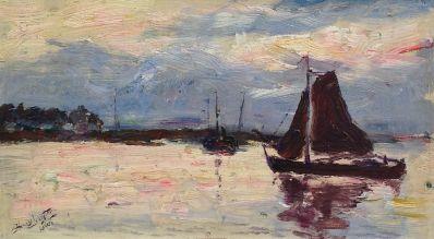 Schilderijen te koop van kunstschilder Henry Luyten Boot op de plas linksonder gesigneerd, Expositie Galerie Wijdemeren Breukeleveen