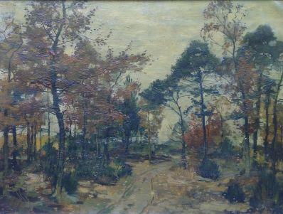 Kunstenaar Eduard Bäumer 7159 Eduard Bäumer boslandschap olie op doek, gesigneerd